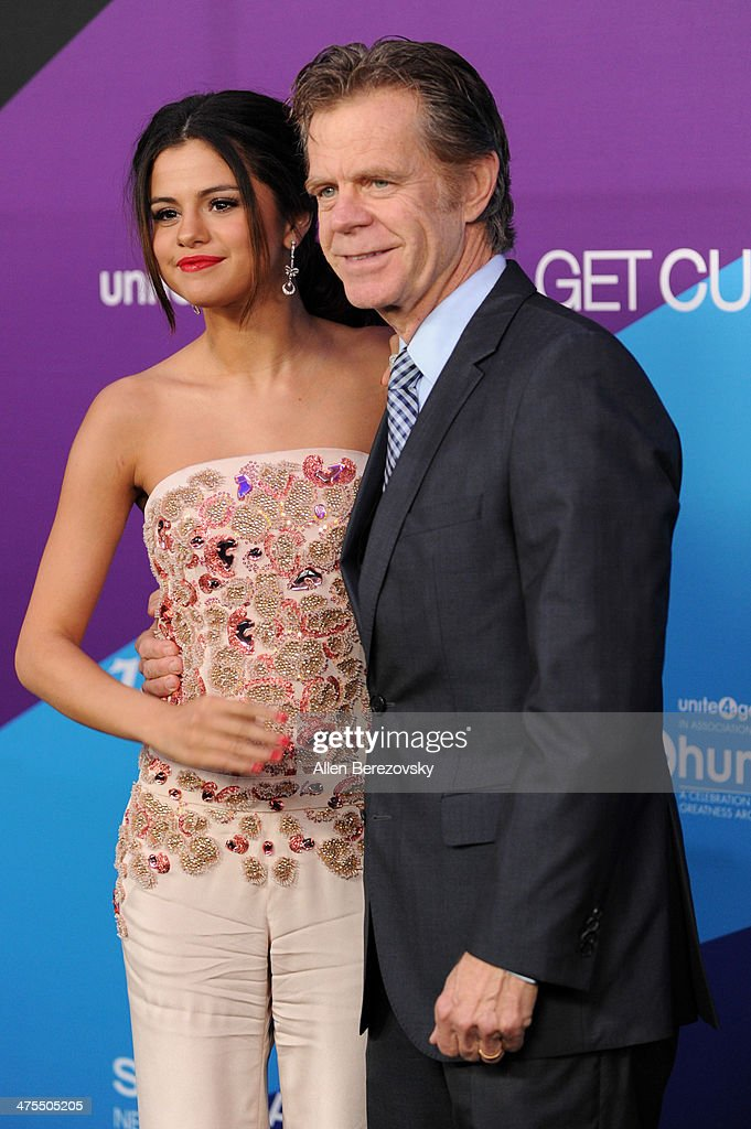 Singer/actress Selena Gomez and actor William H. Macy attend the 1st Annual Unite4:humanity Event hosted by Unite4good and Variety on February 27, 2014 in Los Angeles, California.