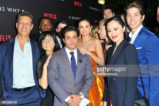 Singer/actress Selena Gomez and cast and crew of '13 Reasons Why' attend the Premiere of Netflix's '13 Reasons Why' at Paramount Pictures on March 30...