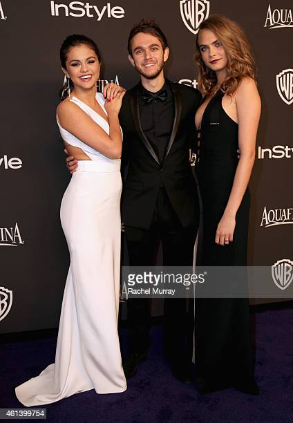 Singer/Actress Selena Gomez music producer and DJ Zedd and model Cara Delevingne attend the 2015 InStyle And Warner Bros 72nd Annual Golden Globe...