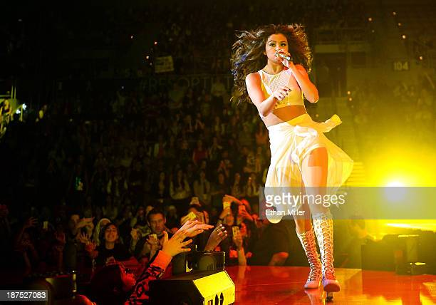 Singer/actress Selena Gomez performs at the Mandalay Bay Events Center as she tours in support of her debut album 'Stars Dance' on November 9 2013 in...