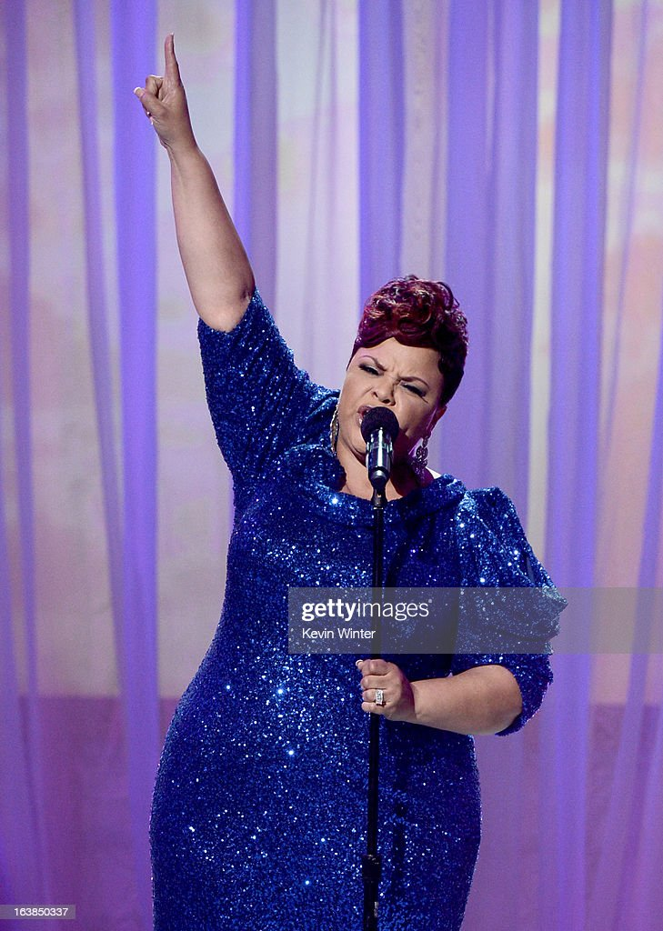 Singer/actress Tamela Mann performs onstage during the BET Celebration of Gospel 2013 at Orpheum Theatre on March 16, 2013 in Los Angeles, California.