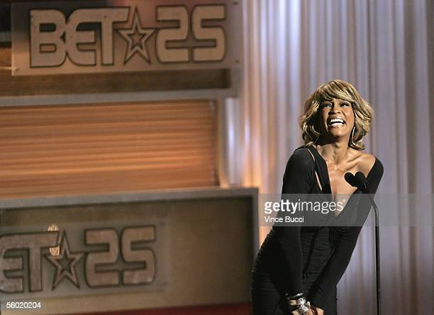 Singeractress Whitney Houston onstage during the taping of '25 Strong The BET Silver Anniversary Celebration' at The Shrine auditorium in Los Angeles...