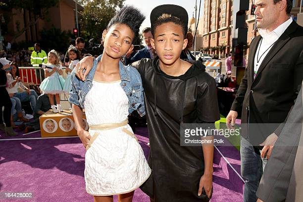 Singer/actress Willow Smith and actor/rapper Jaden Smith arrive at Nickelodeon's 26th Annual Kids' Choice Awards at USC Galen Center on March 23 2013...