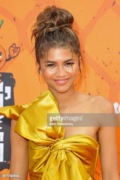 Singer/actress Zendaya arrives at the Nickelodeon Kids' Choice Sports Awards 2016 at UCLA's Pauley Pavilion on July 14 2016 in Westwood California
