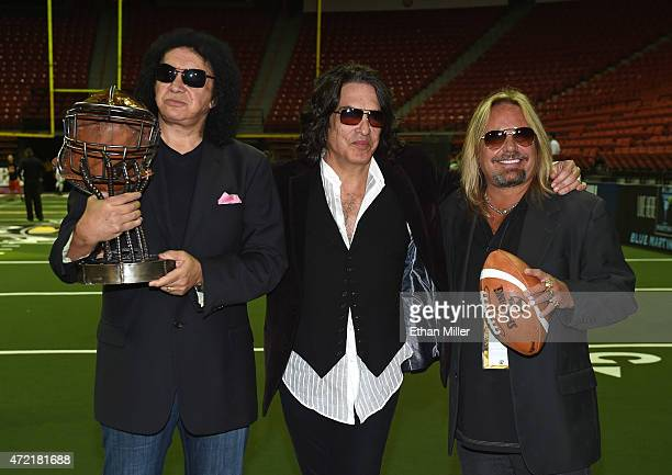 Singer/bassist Gene Simmons and singer/guitarist Paul Stanley of Kiss owners of the Los Angeles Kiss and Motley Crue singer Vince Neil owner of the...