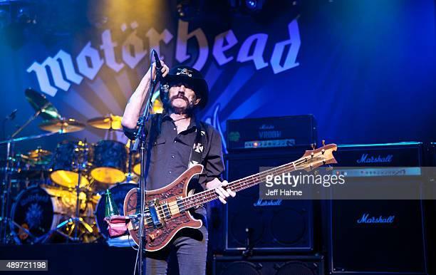 Singer/bassist Lemmy Kilmister of Motorhead performs at The Fillmore Charlotte on September 23 2015 in Charlotte North Carolina