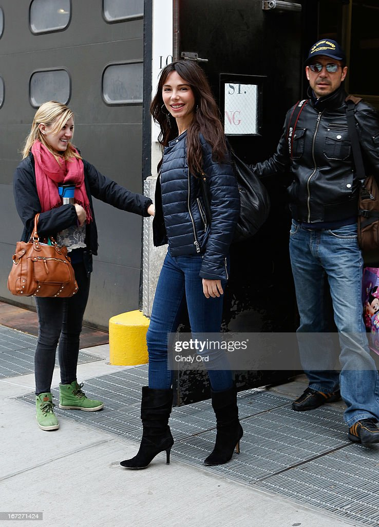 Singer/composer Oksana Grigorieva departs after visiting CBS's 'The Couch' at CBS Studios on April 23, 2013 in New York City.