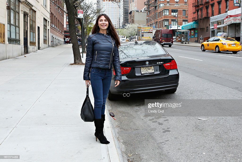 Singer/composer Oksana Grigorieva seen on the street after visiting CBS's 'The Couch' at CBS Studios on April 23, 2013 in New York City.