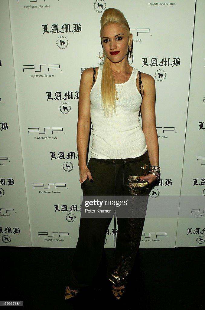 Singer/designer Gwen Stefani poses backstage at Lamb By Gwen Stefani Spring 2006 fashion show during Olympus Fashion Week at Roseland September 16...
