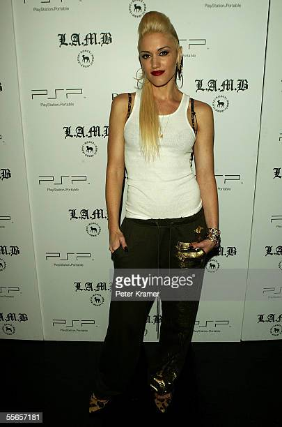 Singer/designer Gwen Stefani poses backstage at Lamb By Gwen Stefani Spring 2006 fashion show during Olympus Fashion Week at Roseland September 16...