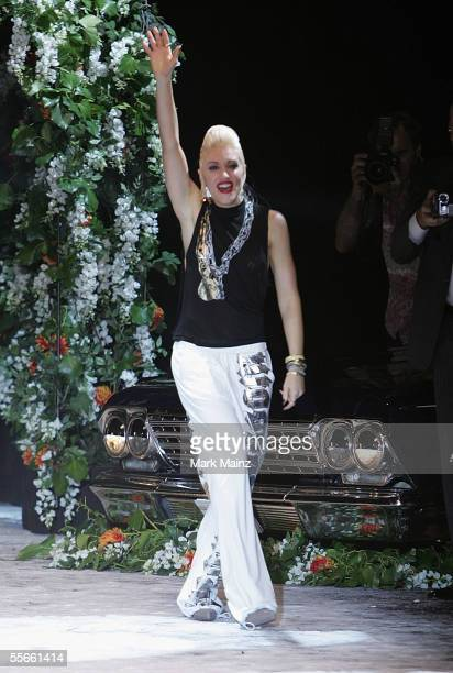Singer/designer Gwen Stefani walks the runway at the Lamb By Gwen Stefani Spring 2006 fashion show during Olympus Fashion Week at Roseland September...