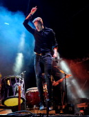 Singer/drummer Dan Reynolds of Imagine Dragons performs during the Life is Beautiful festival on October 26 2013 in Las Vegas Nevada