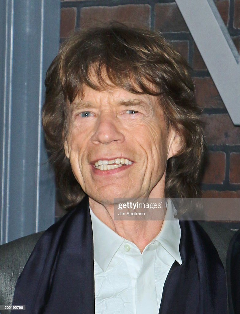 Singer/executive producer <a gi-track='captionPersonalityLinkClicked' href=/galleries/search?phrase=Mick+Jagger&family=editorial&specificpeople=201786 ng-click='$event.stopPropagation()'>Mick Jagger</a> attends the 'Vinyl' New York premiere at Ziegfeld Theatre on January 15, 2016 in New York City.