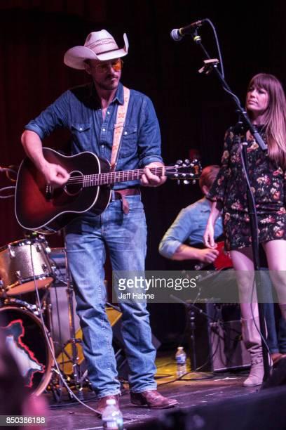 Singer/guitarist Blake Berglund and singer Belle Plaine perform at Neighborhood Theatre on September 20 2017 in Charlotte North Carolina