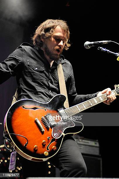 Singer/guitarist Brian Aubert of Silversun Pickups performs during the 99X Mistle Toe Jam concert December 16 2007 at the Arena at Gwinnett Center in...