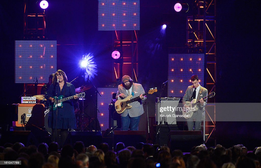 Singer/guitarist Brittany Howard, bassist Zac Cockrell and guitarist Heath Fogg perform onstage at The 2013 MusiCares Person Of The Year Gala Honoring Bruce Springsteen at Los Angeles Convention Center on February 8, 2013 in Los Angeles, California.
