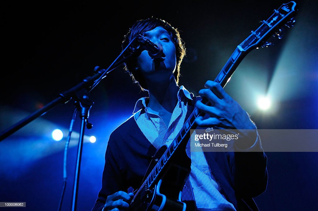 Singer/guitarist Christopher Chu performs with his group The Morning Benders at the Henry Fonda Theater on May 19, 2010 in Los Angeles, California.