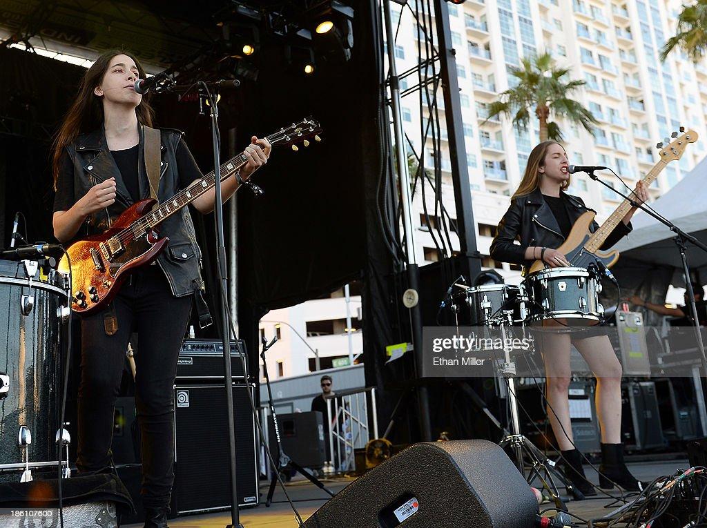 Singer/guitarist Danielle Haim (L) and singer/bassist Este Haim of Haim perform during the Life is Beautiful festival on October 27, 2013 in Las Vegas, Nevada.