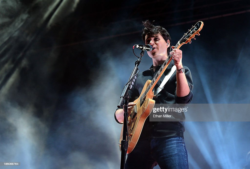 Singer/guitarist <a gi-track='captionPersonalityLinkClicked' href=/galleries/search?phrase=Ezra+Koenig&family=editorial&specificpeople=4958539 ng-click='$event.stopPropagation()'>Ezra Koenig</a> of Vampire Weekend performs during the Life is Beautiful festival on October 27, 2013 in Las Vegas, Nevada.