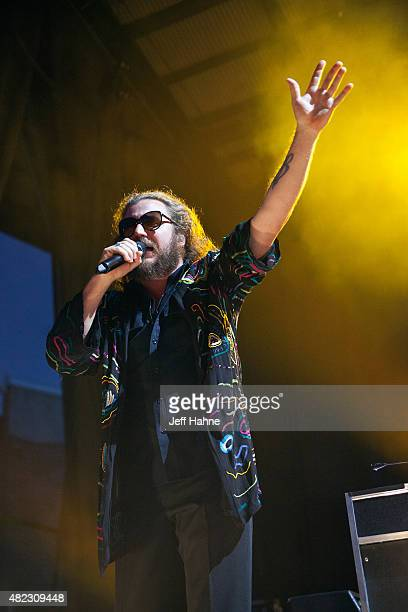 Singer/guitarist Jim James of My Morning Jacket performs at Time Warner Cable Uptown Amphitheatre on July 29 2015 in Charlotte North Carolina