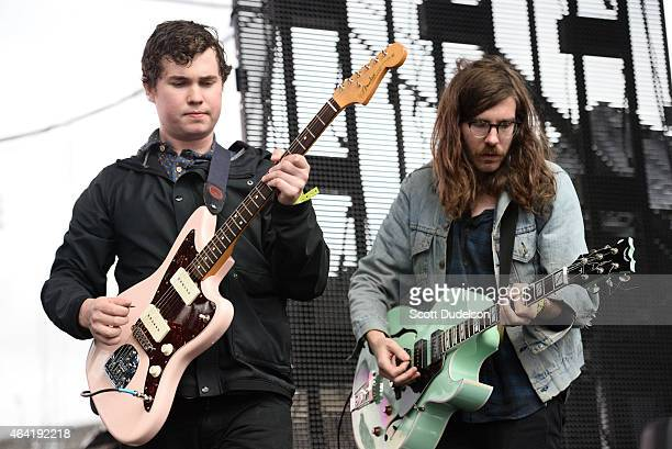 Singer/guitarist John Paul Pitts and guitarist Thomas Fekete of Surfer Blood perform onstage at the Rose Bowl on February 21 2015 in Pasadena...