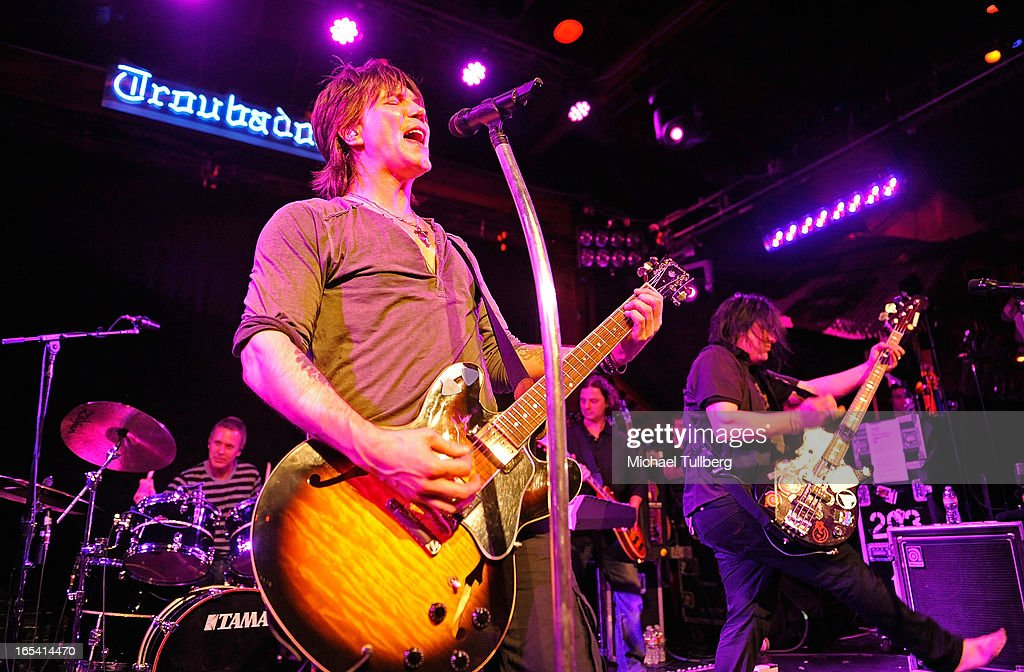 Singer/guitarist John Rzeznik and bassist Robby Takac of the Goo Goo Dolls perform live at Troubadour on April 3, 2013 in West Hollywood, California.
