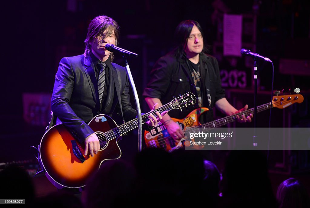 Singer/guitarist Johnny Rzeznik (L) and Bassist <a gi-track='captionPersonalityLinkClicked' href=/galleries/search?phrase=Robby+Takac&family=editorial&specificpeople=778886 ng-click='$event.stopPropagation()'>Robby Takac</a> of the Goo Goo Dolls perform onstage at The Creative Coalition's 2013 Inaugural Ball at the Harman Center for the Arts on January 21, 2013 in Washington, United States.