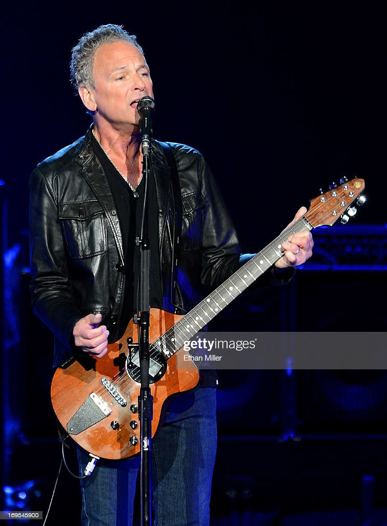 Singer/guitarist <a gi-track='captionPersonalityLinkClicked' href=/galleries/search?phrase=Lindsey+Buckingham&family=editorial&specificpeople=238836 ng-click='$event.stopPropagation()'>Lindsey Buckingham</a> of Fleetwood Mac performs at the MGM Grand Garden Arena on May 26, 2013 in Las Vegas, Nevada.