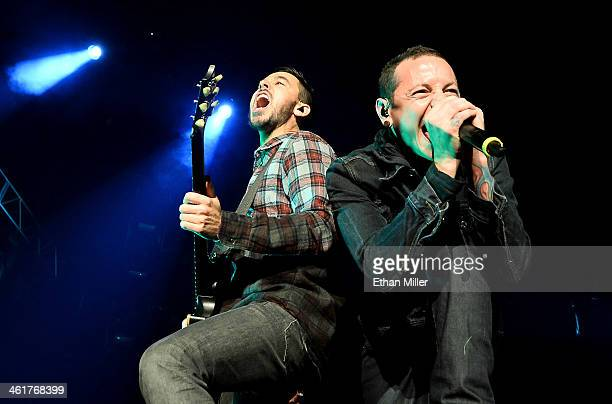 Singer/guitarist Mike Shinoda and singer Chester Bennington of Linkin Park perform at The Joint inside the Hard Rock Hotel Casino on January 10 2014...