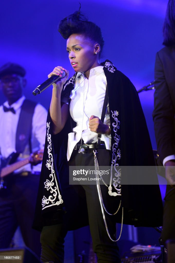 SingerJanelle Monae performs onstage at Bud Light Presents Stevie Wonder and Gary Clark Jr. at the Bud Light Hotel on February 2, 2013 in New Orleans, Louisiana.
