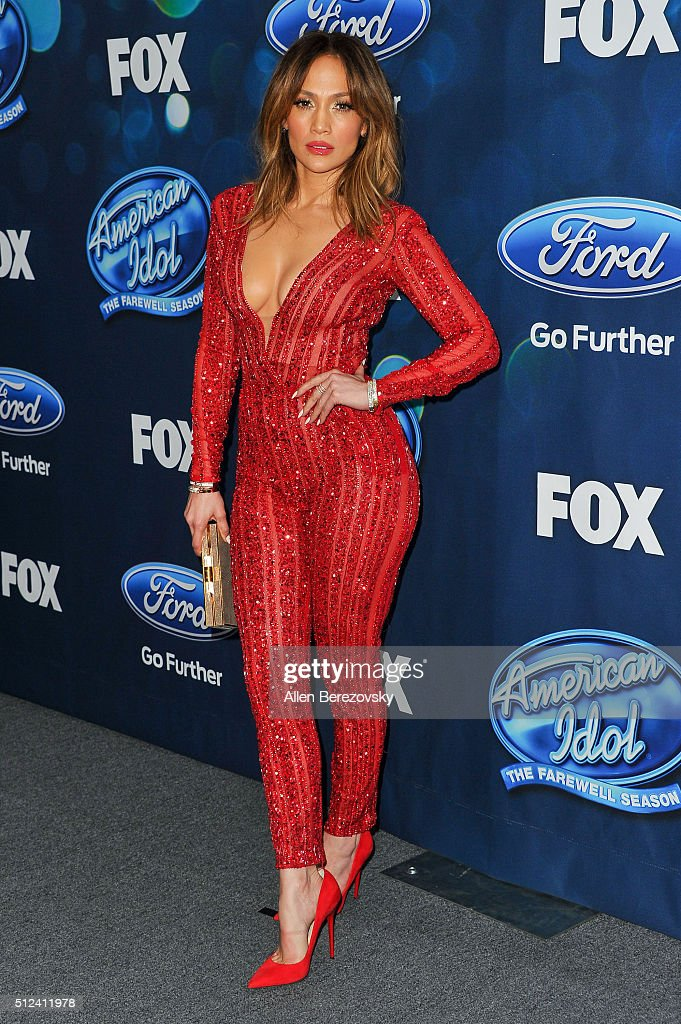 Singer/judge Jennifer Lopez attends the 'American Idol XV' Finalists party at The London Hotel on February 25 2016 in West Hollywood California