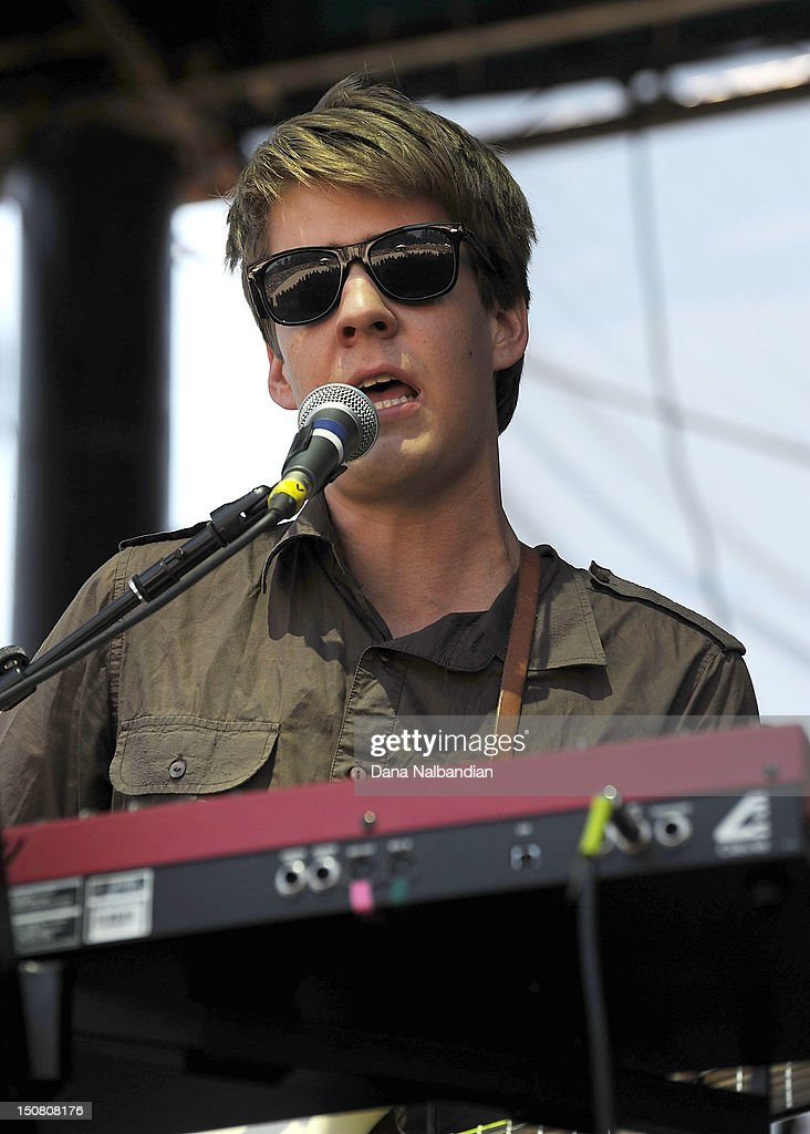 Singer/keyboard player Aaron Johnson of Adventure Galley performs at The End Summer Camp at Marymoor Amphitheater on August 25, 2012 in Redmond, Washington.