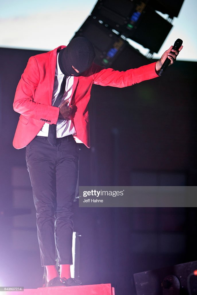 Singer/keyboardist Tyler Joseph of Twenty One Pilots performs at Charlotte Metro Credit Union Amphitheatre on June 28, 2016 in Charlotte, North Carolina.