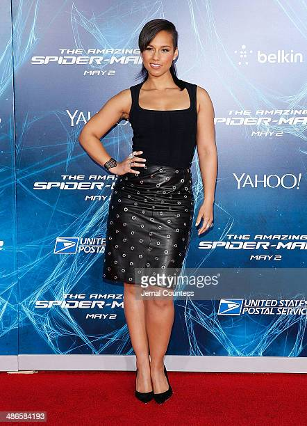 Singer/musician Alicia Keys attends 'The Amazing SpiderMan 2' premiere at the Ziegfeld Theater on April 24 2014 in New York City