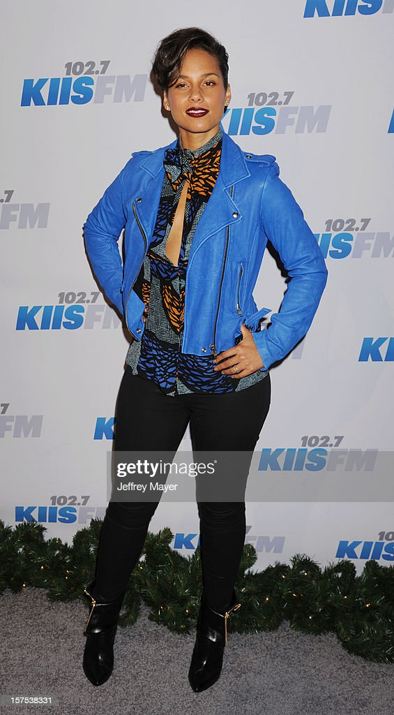 Singer/musician <a gi-track='captionPersonalityLinkClicked' href=/galleries/search?phrase=Alicia+Keys&family=editorial&specificpeople=169877 ng-click='$event.stopPropagation()'>Alicia Keys</a> attends the KIIS FM's Jingle Ball 2012 held at Nokia Theatre LA Live on December 3, 2012 in Los Angeles, California.