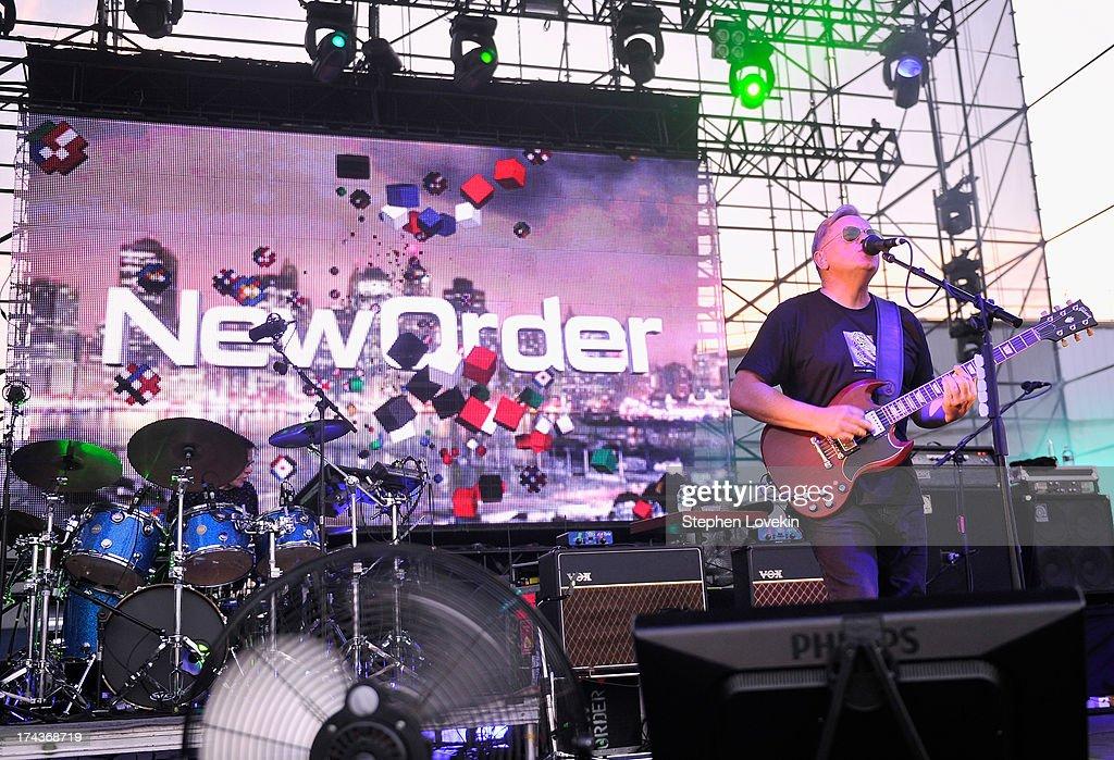 Singer/musician Bernard Sumner of New Order performs at Williamsburg Park on July 24, 2013 in Brooklyn, New York.
