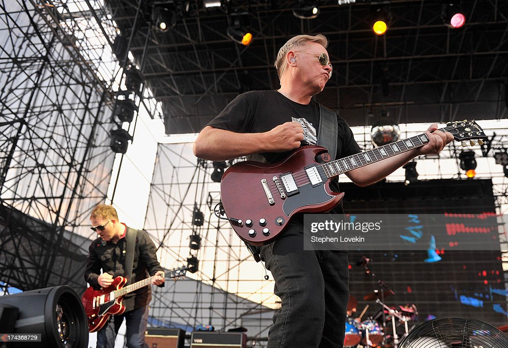 Singer/musician <a gi-track='captionPersonalityLinkClicked' href=/galleries/search?phrase=Bernard+Sumner&family=editorial&specificpeople=220306 ng-click='$event.stopPropagation()'>Bernard Sumner</a> of New Order performs at Williamsburg Park on July 24, 2013 in Brooklyn, New York.