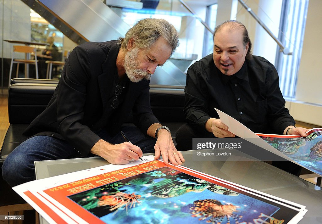 Singer/musician Bob Weir and artist Ioannis at SIRIUS XM Studio on February 24, 2010 in New York City.