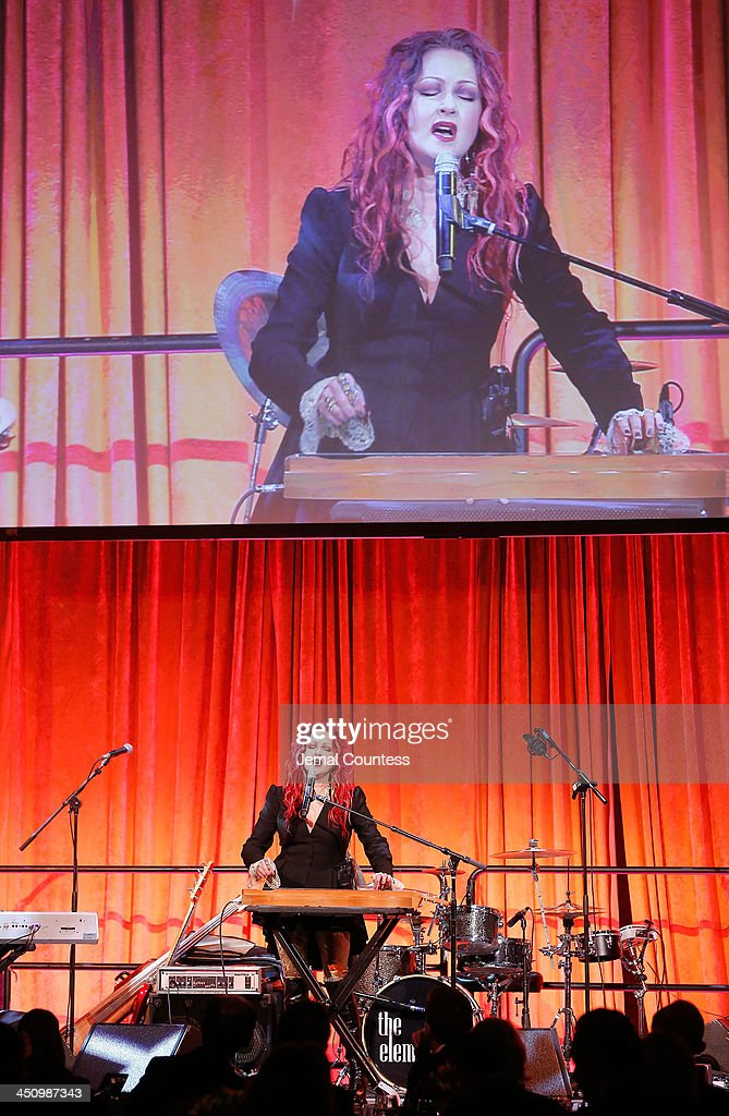 Singer/musician <a gi-track='captionPersonalityLinkClicked' href=/galleries/search?phrase=Cyndi+Lauper&family=editorial&specificpeople=171290 ng-click='$event.stopPropagation()'>Cyndi Lauper</a> performs at the 2013 Silver Hospital gala at Cipriani 42nd Street on November 20, 2013 in New York City.