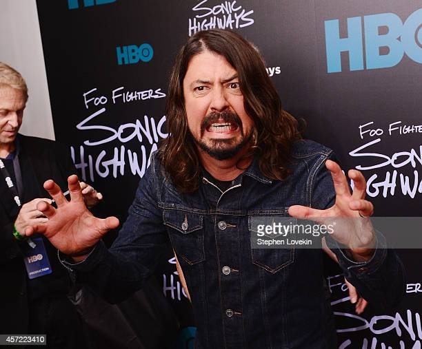Singer/musician Dave Grohl of The Foo Fighters attends The 'Foo Fighters Sonic Highways' New York Premiere at Ed Sullivan Theater on October 14 2014...
