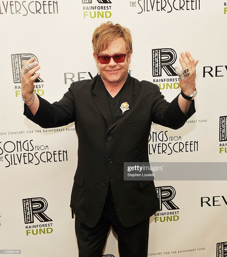 Singer/musician <a gi-track='captionPersonalityLinkClicked' href=/galleries/search?phrase=Elton+John&family=editorial&specificpeople=171369 ng-click='$event.stopPropagation()'>Elton John</a> attends the after party for the 2012 Concert for the Rainforest Fund at The Pierre Hotel on April 3, 2012 in New York City.