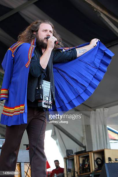 Singer/musician Jim James of My Morning Jacket performs during the 2012 New Orleans Jazz Heritage Festival at the Fair Grounds Race Course on May 5...