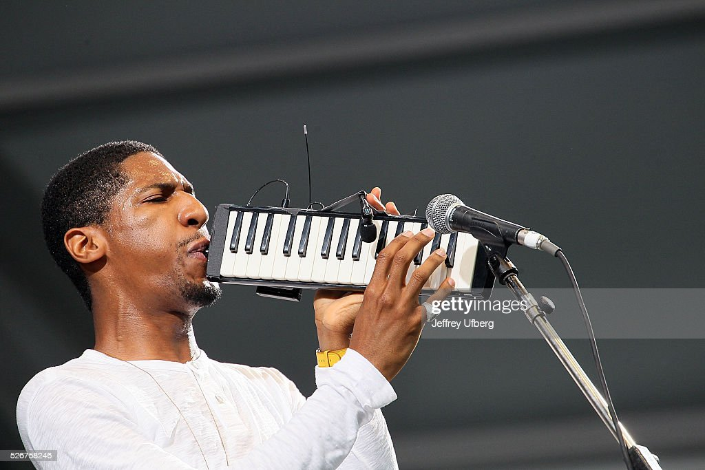 Singer/Musician Jon Baptiste at Fair Grounds Race Course on April 30, 2016 in New Orleans, Louisiana.
