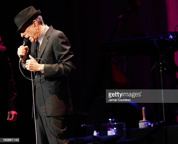 Singer/musician Leonard Cohen performs at Radio City Music Hall on April 6 2013 in New York City