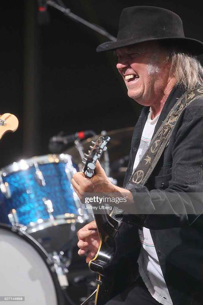 Singer/Musician Neil Young performs at Fair Grounds Race Course on May 1, 2016 in New Orleans, Louisiana.