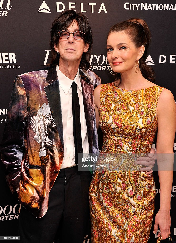 Singer/musician <a gi-track='captionPersonalityLinkClicked' href=/galleries/search?phrase=Ric+Ocasek&family=editorial&specificpeople=569822 ng-click='$event.stopPropagation()'>Ric Ocasek</a> and model Paulina Poriskova attend The Hollywood Reporters 35 Most Powerful People In Media at Four Seasons Grill Room on April 10, 2013 in New York City.