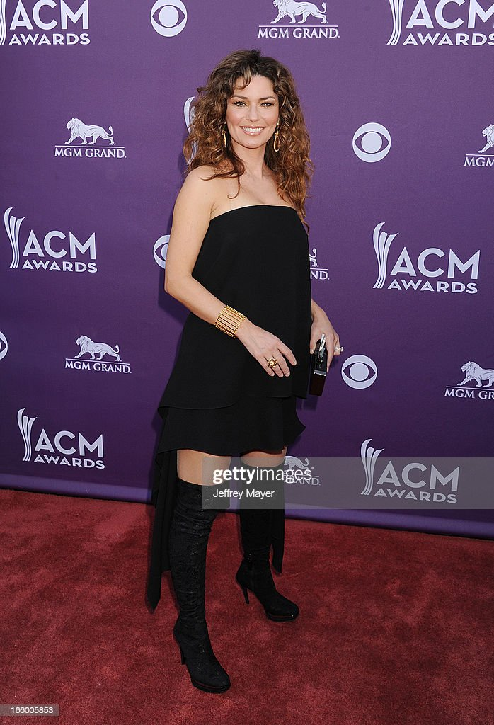 Singer/musician Shania Twain arrives at the 48th Annual Academy of Country Music Awards at MGM Grand Garden Arena on April 7, 2013 in Las Vegas, Nevada.