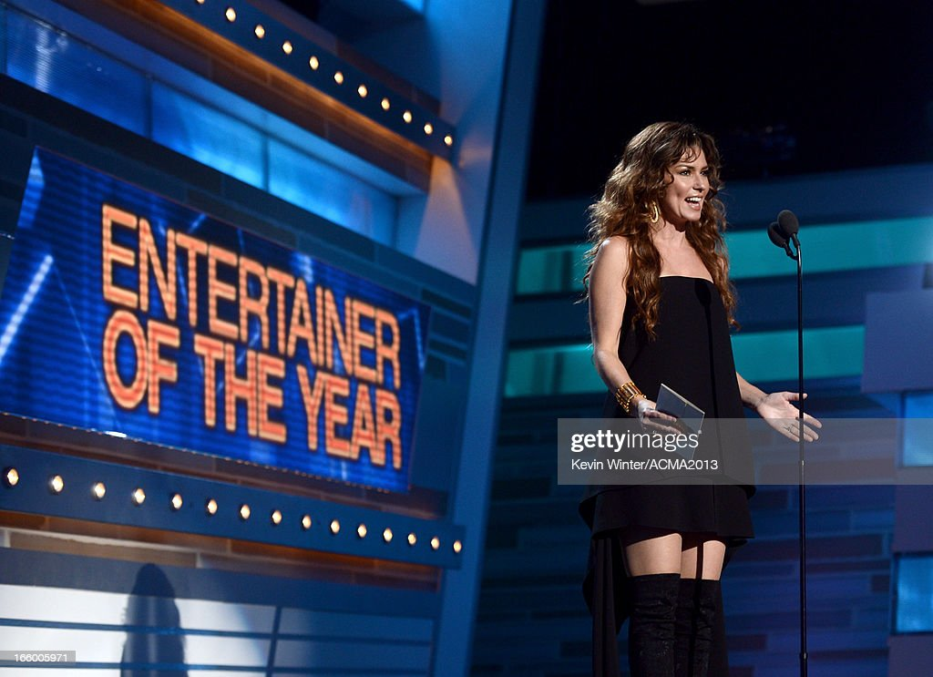 Singer/musician Shania Twain speaks onstage during the 48th Annual Academy of Country Music Awards at the MGM Grand Garden Arena on April 7, 2013 in Las Vegas, Nevada.