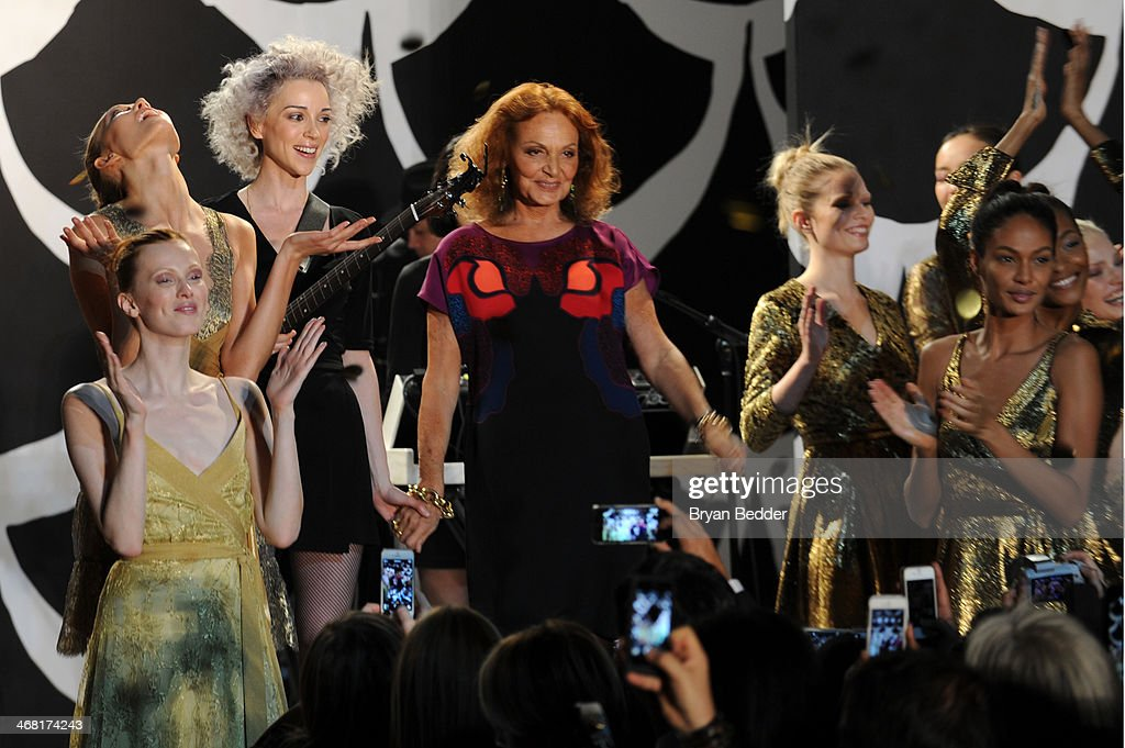 Singer/musician St. Vincent and fashion designer Diane von Furstenberg attend the American Express UNSTAGED Fashion with DVF at Spring Studios on February 9, 2014 in New York City.