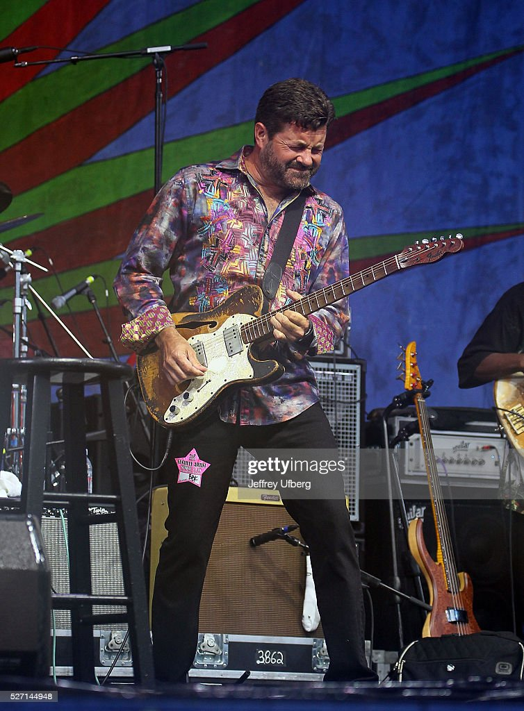 Singer/Musician <a gi-track='captionPersonalityLinkClicked' href=/galleries/search?phrase=Tab+Benoit&family=editorial&specificpeople=649861 ng-click='$event.stopPropagation()'>Tab Benoit</a> performs with BB King's Blues Band as part of tribute to BB King at Fair Grounds Race Course on May 1, 2016 in New Orleans, Louisiana.